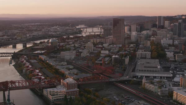 Aerial shot of Portland in early morning light.   Royalty-free stock video