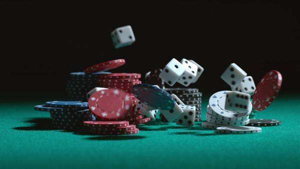 Dice and poker chips falling in slow motion Royalty-free stock video
