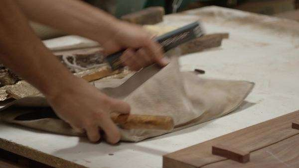 Close-up shot of a carpenter opening a tool roll Royalty-free stock video