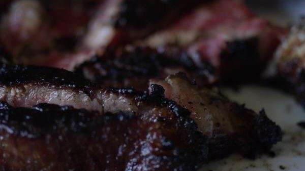 Close-up shot of beef steak served on a platter Royalty-free stock video