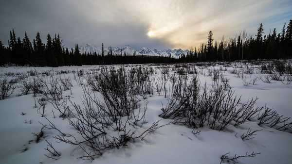 Timelapse of clouds near sunset in Kluane National Park, Canada Royalty-free stock video