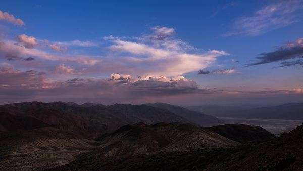 Looking east at the clouds during sunset at Dantes view in Death Valley California Royalty-free stock video