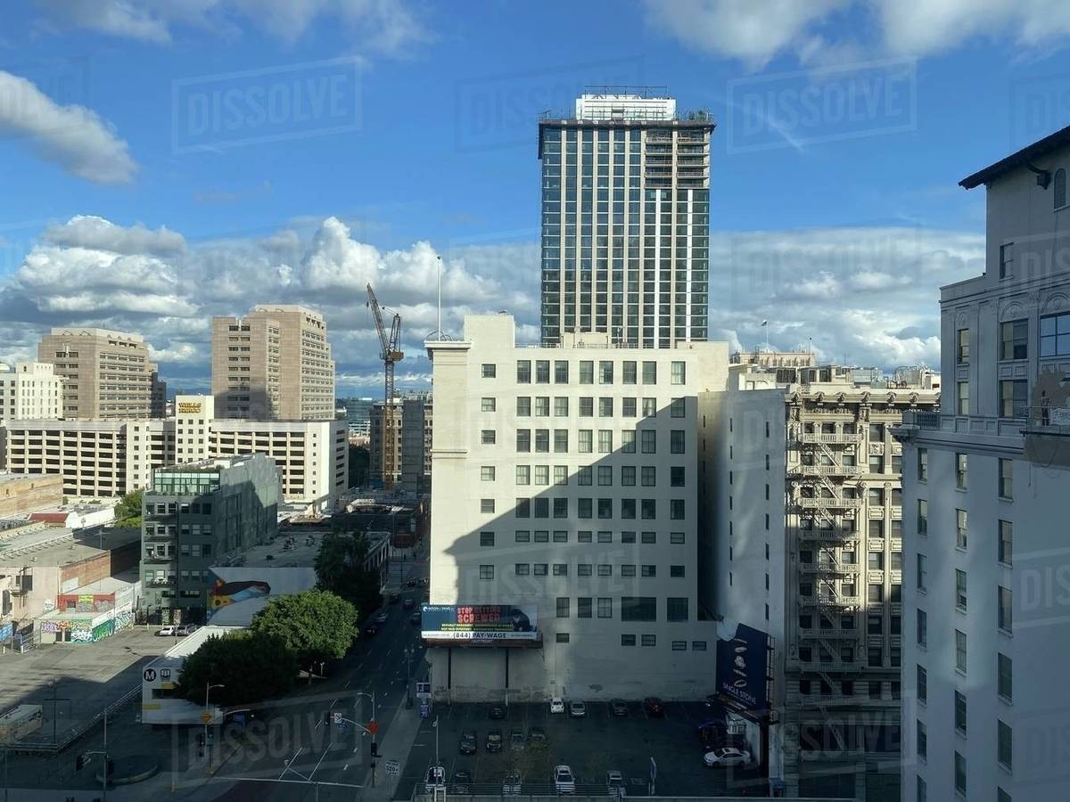 LOS ANGELES, CA, MAR 2020: looking north east from Bunker Hill on sunny day, view includes old and new apartment buildings in Downtown Royalty-free stock photo