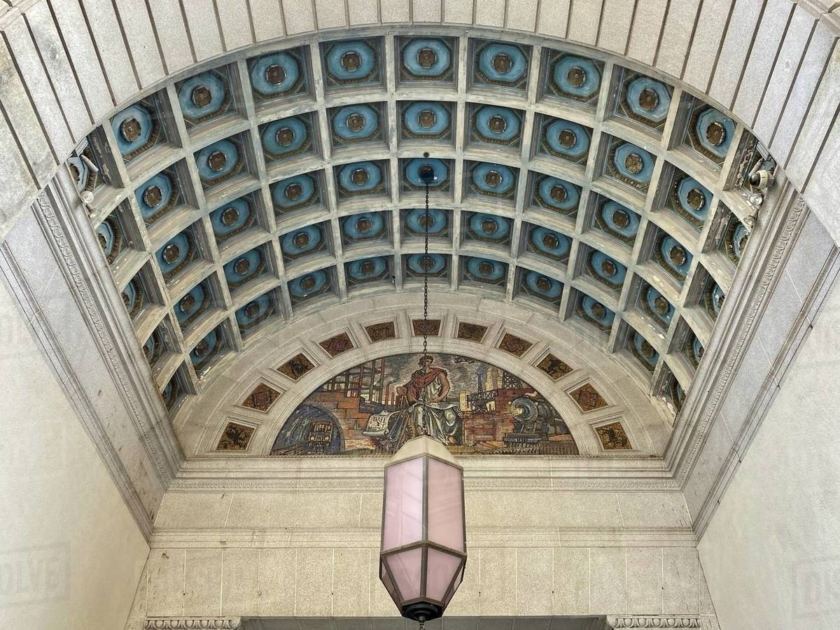 LOS ANGELES, CA, MAR 2020: architectural detail looking up at arched entrance to Metro 417, the old railway Terminal Building in Downtown Royalty-free stock photo