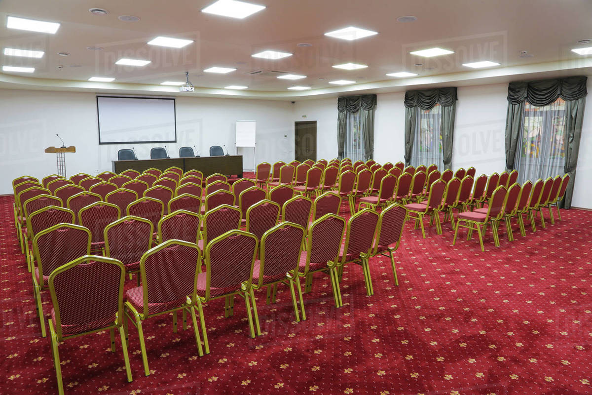 Prepared conference room for guests, with red carpet, clean, cozy, bright Royalty-free stock photo