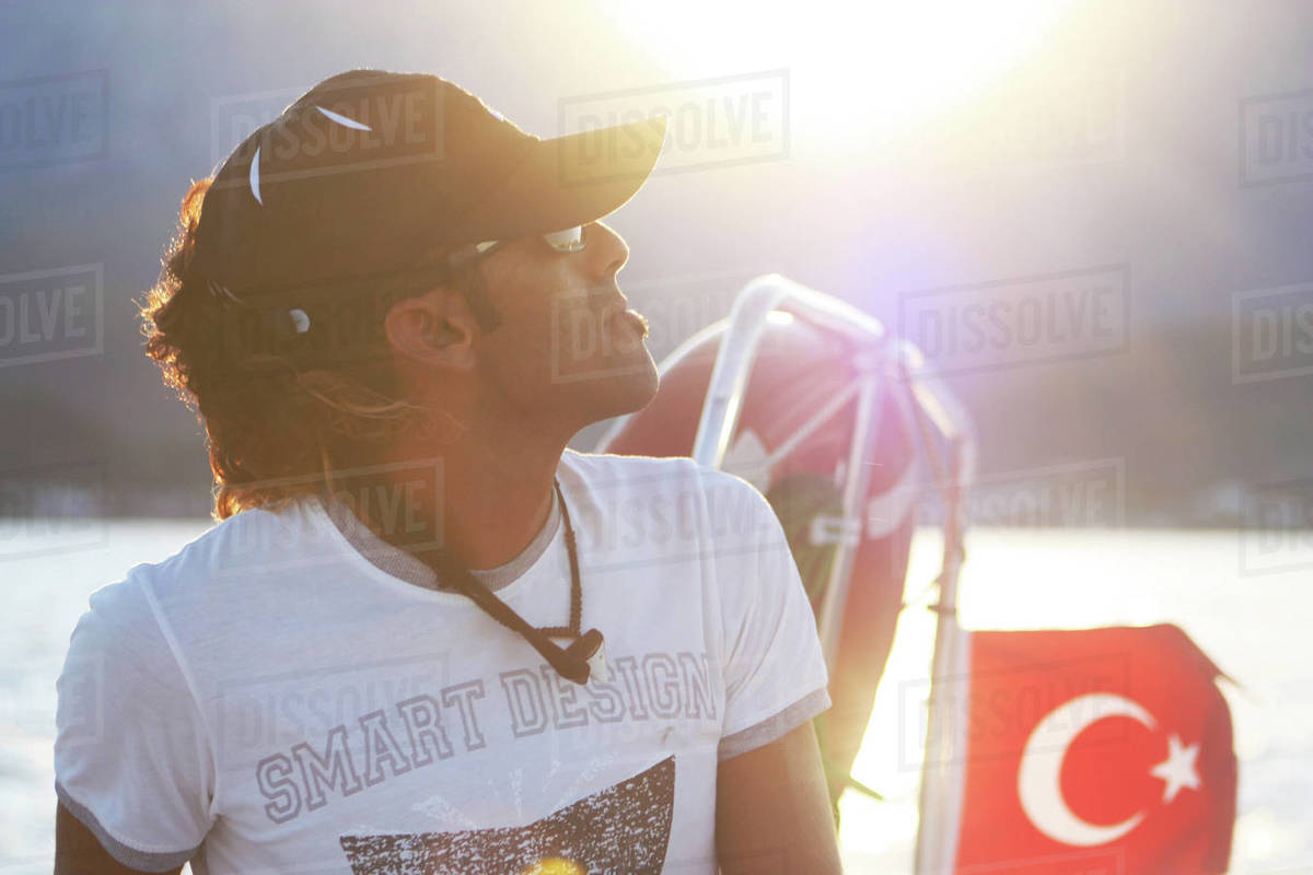 31 July 2013, Turkey, Kemer / captain of the boat looks at the sky Royalty-free stock photo
