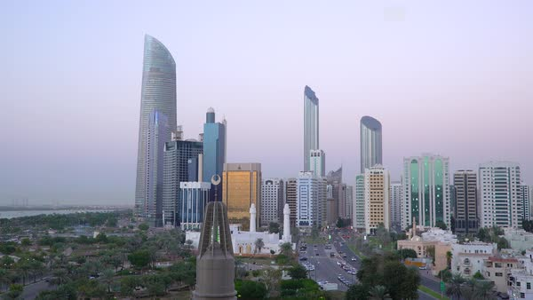 Modern city skyline, Abu Dhabi, United Arab Emirates, UAE Royalty-free stock video