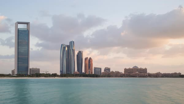 Modern city skyline time lapse, Abu Dhabi, United Arab Emirates, UAE Royalty-free stock video