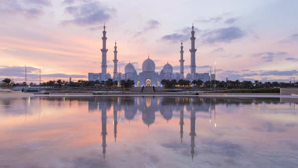 Time lapse, Sheikh Zayed Bin Sultan Al Nahyan Mosque, Abu Dhabi, United Arab Emirates, UAE Royalty-free stock video