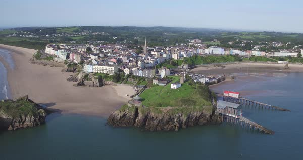 United Kingdom, Wales, Dyfed, Pembrokshire, Tenby Royalty-free stock video