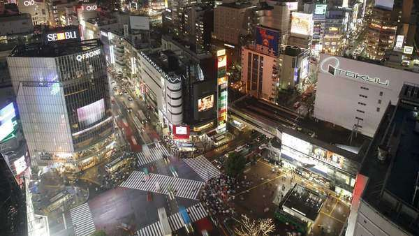 Timelapse High angle shot pedestrians and traffic across Shibuya Crossing, Hachiko Crossing, Shibuya, Tokyo, Honshu, Japan Royalty-free stock video