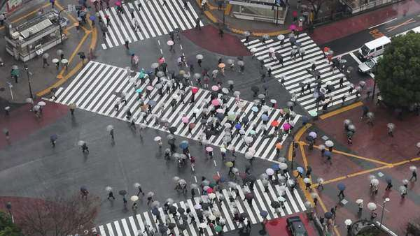 Shibuya, Shibuya Crossing, crowds of people crossing the famous crosswalks at the centre of Shibuyas fashionable shopping and entertainment district, elevated view, Tokyo, Japan, Asia Royalty-free stock video