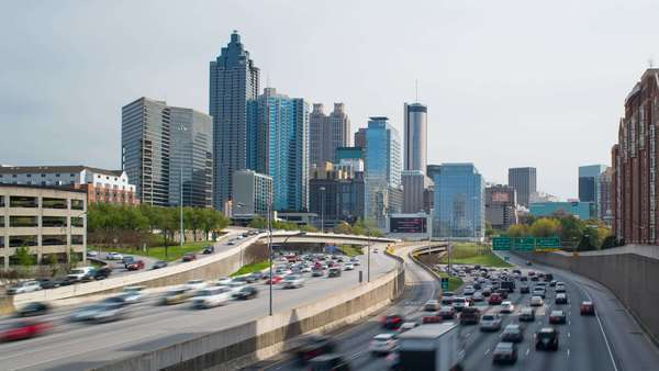 Interstate I-85 leading into Downtown Atlanta, Georgia, United States of America Royalty-free stock video