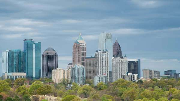 Midtown Skyline from Piedmont Park, Atlanta, Georgia, United States of America Royalty-free stock video
