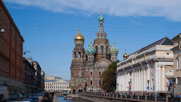 Domes of Church of the Saviour on Spilled Blood, Saint Petersburg, Russia - timelapse Royalty-free stock video