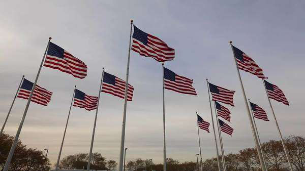Flags, Liberty State Park, New Jersey, New York, USA Royalty-free stock video