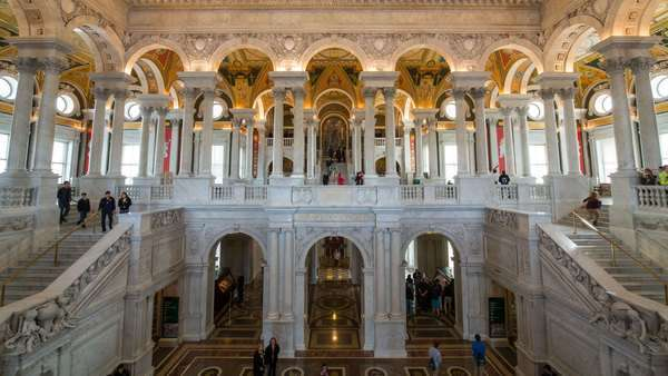 The Great Hall in the Thomas Jefferson Building, Library of Congress, Washington DC, USA Royalty-free stock video