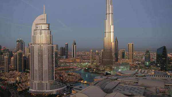 United Arab Emirates, Dubai, the Burj Khalifa, elevated view looking over the Dubai Mall Royalty-free stock video