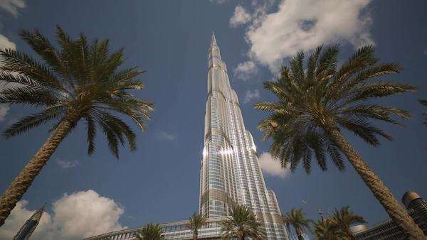 The Burj Khalifa Dubai, a Futuristic Modern Design Structure, the Burj Khalifa was completed in 2010 and is the worlds tallest building, Dubai, UAE Royalty-free stock video