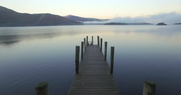 Wooden jetty at Barrow Bay landing, Derwent Water, Lake District National Park, Cumbria, England, United Kingdom Royalty-free stock video