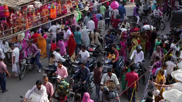 Busy street scene in the Old City, Udaipur, Rajasthan, India Royalty-free stock video