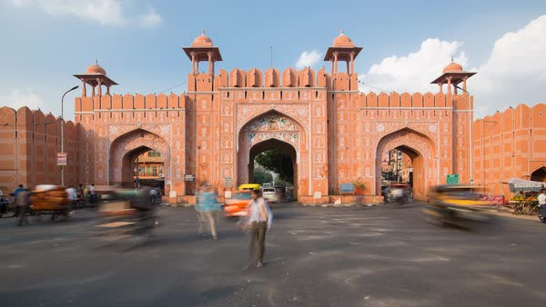 Time lapse of traffic passing through one of the city gates in Jaipur, Rajastan, India Royalty-free stock video