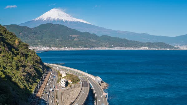 Mt. Fuji and traffic driving on the Tomei Expressway, Shizuoka, Honshu, Japan Royalty-free stock video