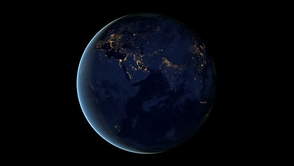 Earth at night. Animation showing the rotating earth at night. Rights-managed stock video
