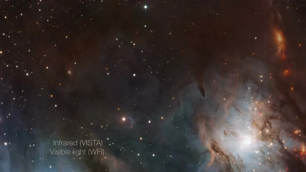 M78 nebula. Cross-fade rostrum footage of images of the M78 nebula obtained in first visible and then infrared light. Rights-managed stock video