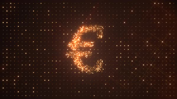Euro symbol € made from rotating glittering golden coins on dark background. EUR. Perfect loop. Royalty-free stock video