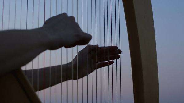 Close-up of a woman playing the harp outdoors. Royalty-free stock video