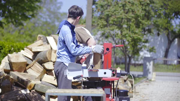 Hydraulic wood splitter big pieces of timber close-up Royalty-free stock video