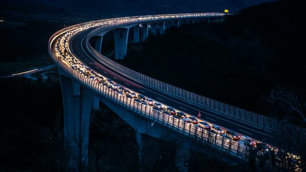 Traffic jam on bridge at night moving fast forward timelapse Royalty-free stock video