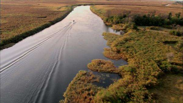 Aerial shot of a boat traveling down a river in Okavango Delta Rights-managed stock video