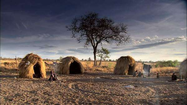 Tradition bushman huts and village Rights-managed stock video