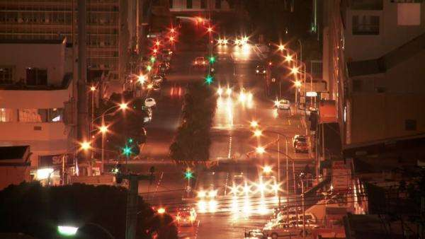 Time lapsed high angled long shot of Cape Town city traffic at night Rights-managed stock video