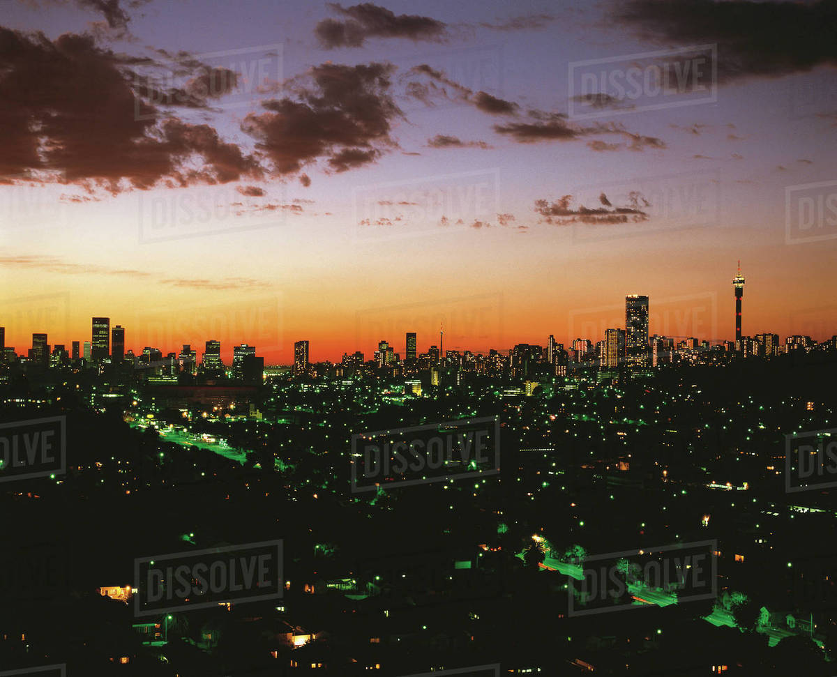 Silhouette of johannesburg skyline with hillbrow tower at sunset silhouette of johannesburg skyline with hillbrow tower at sunset johannesburg gauteng province south africa africa thecheapjerseys Images