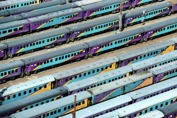 Aerial view of the train carriages at Park Station Royalty-free stock photo