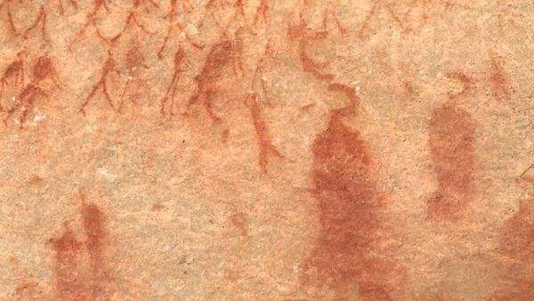 Extreme close up of the rock art in a cave Rights-managed stock video