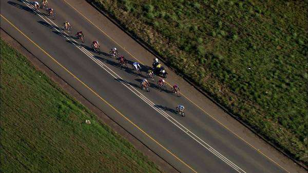 Aerial of cyclists during a cycle race Rights-managed stock video