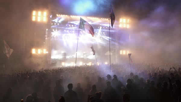 Hand-held shot of flashing lights at a music festival Royalty-free stock video