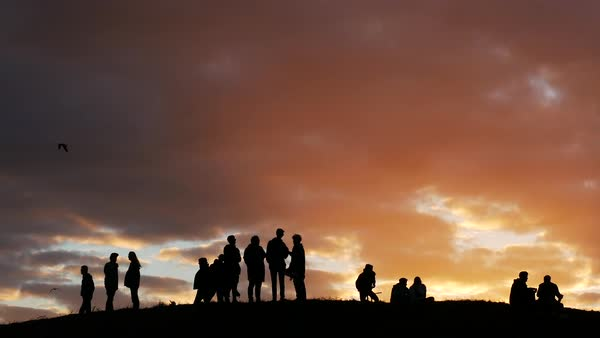 Hand-held shot of silhouetted people standing and talking outdoors Royalty-free stock video