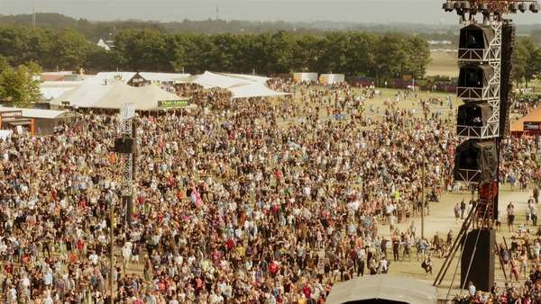 Big crowd at music festival, view from top of Orange stage Roskilde festival Royalty-free stock video