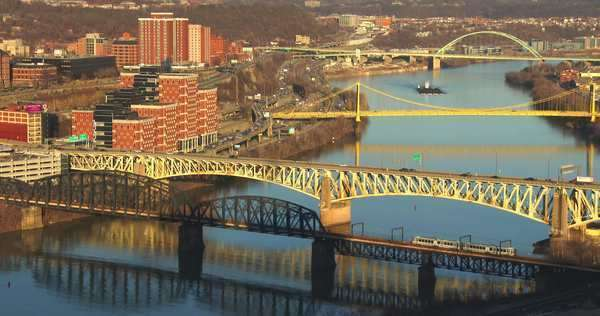 Bridges cross the river near Pittsburgh, PA. Royalty-free stock video
