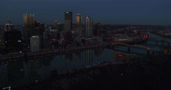 Pittsburgh, PA at night. Royalty-free stock video