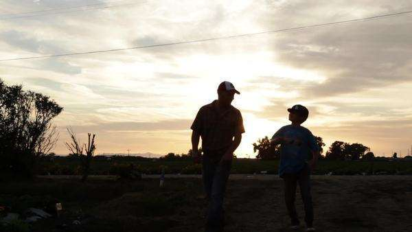 A father and son walk in a farm field. Royalty-free stock video