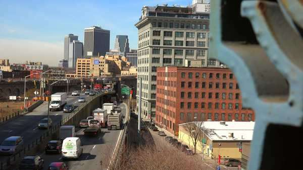 Traffic moves through Brooklyn, New York. Royalty-free stock video