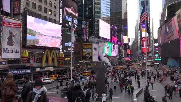 Pan across crowded streets in Times Square, New York City. Royalty-free stock video