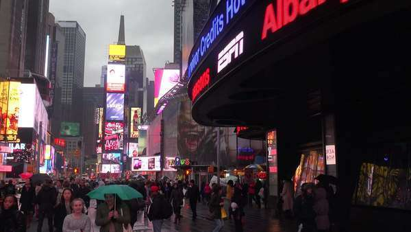 A foggy night in New York's Times Square. Royalty-free stock video