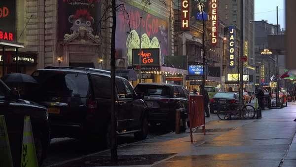 A beautiful New York street scene at night in rain with painting qualities. Royalty-free stock video